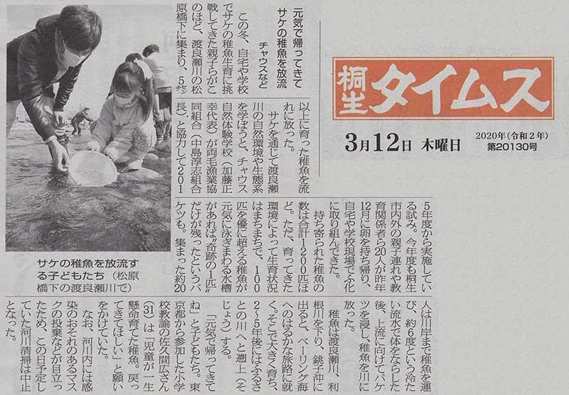 20200312桐生タイムス社〜サケ放流